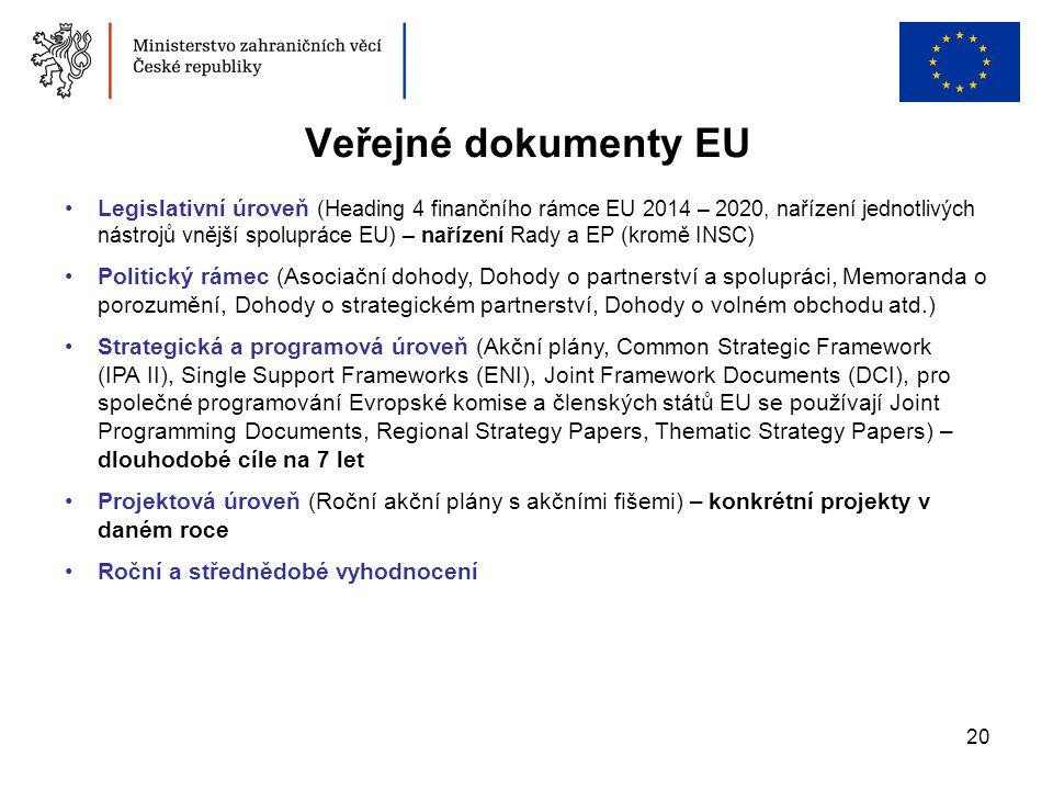 20 Veřejné dokumenty EU •Legislativní úroveň (Heading 4 finančního rámce EU 2014 – 2020, nařízení jednotlivých nástrojů vnější spolupráce EU) – naříze