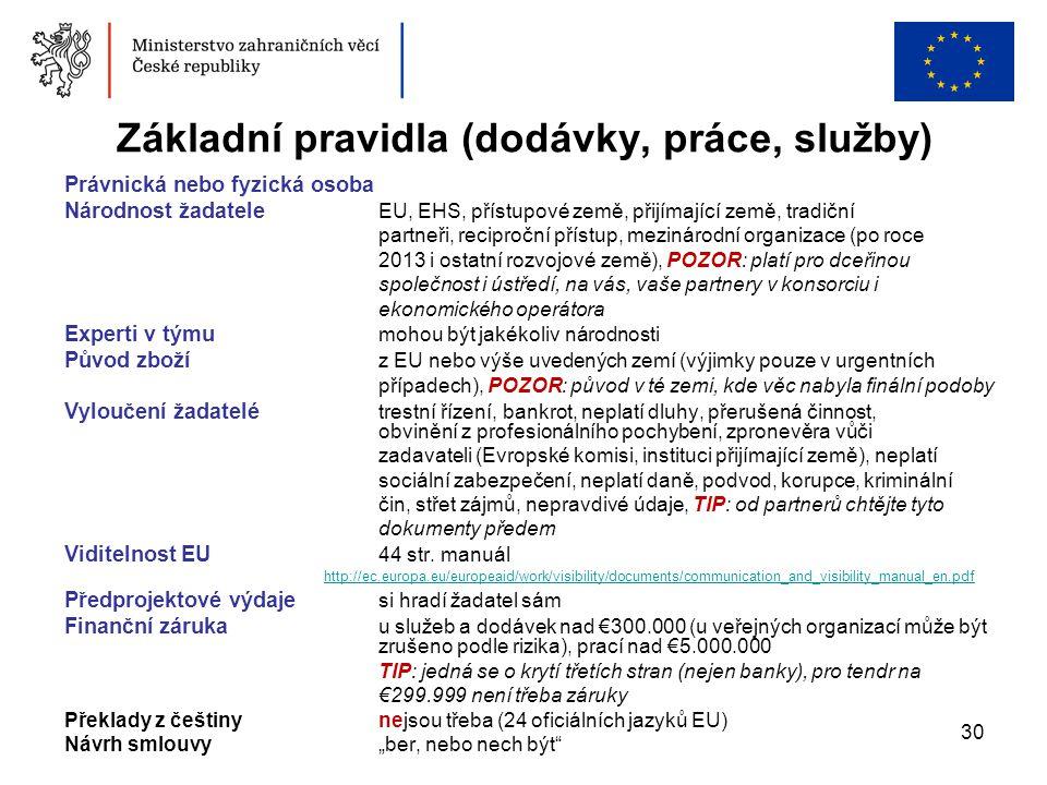 30 Základní pravidla (dodávky, práce, služby) Právnická nebo fyzická osoba Národnost žadatele EU, EHS, přístupové země, přijímající země, tradiční par