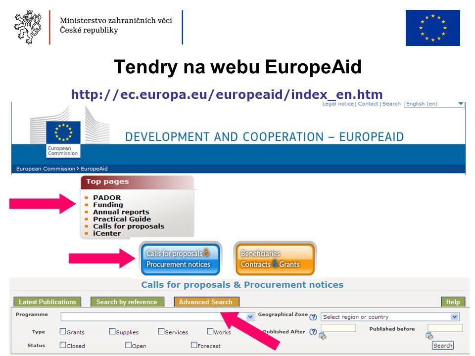 34 Tendry na webu EuropeAid http://ec.europa.eu/europeaid/index_en.htm