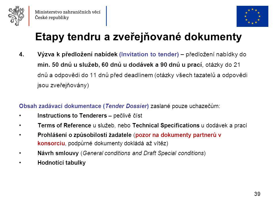 39 Etapy tendru a zveřejňované dokumenty 4.Výzva k předložení nabídek (Invitation to tender) – předložení nabídky do min. 50 dnů u služeb, 60 dnů u do