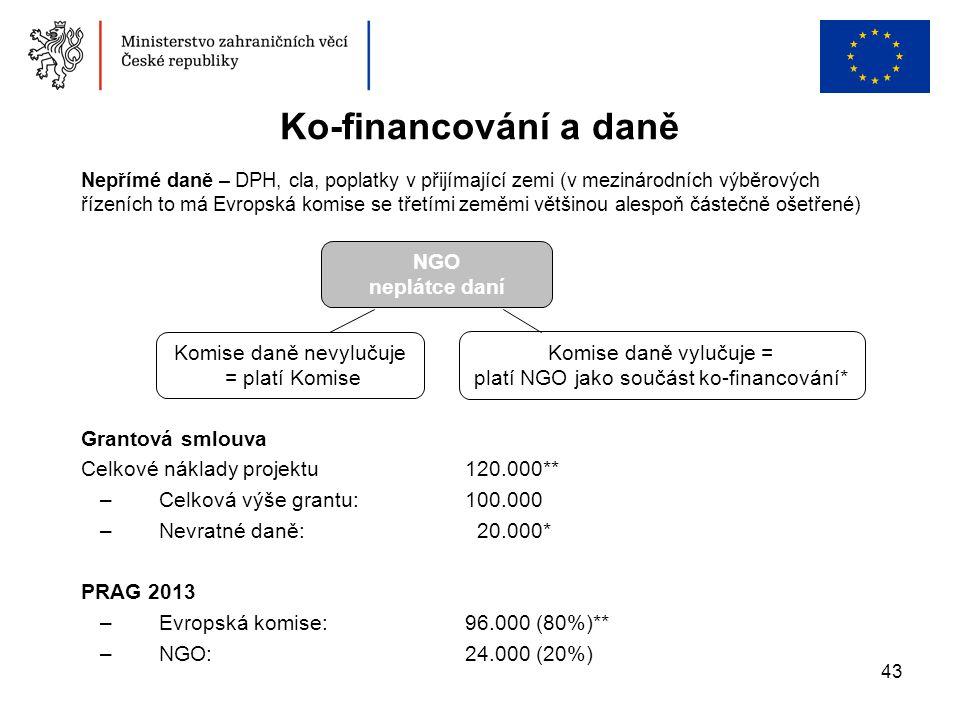 43 Ko-financování a daně Grantová smlouva Celkové náklady projektu 120.000** –Celková výše grantu: 100.000 –Nevratné daně: 20.000* PRAG 2013 –Evropská