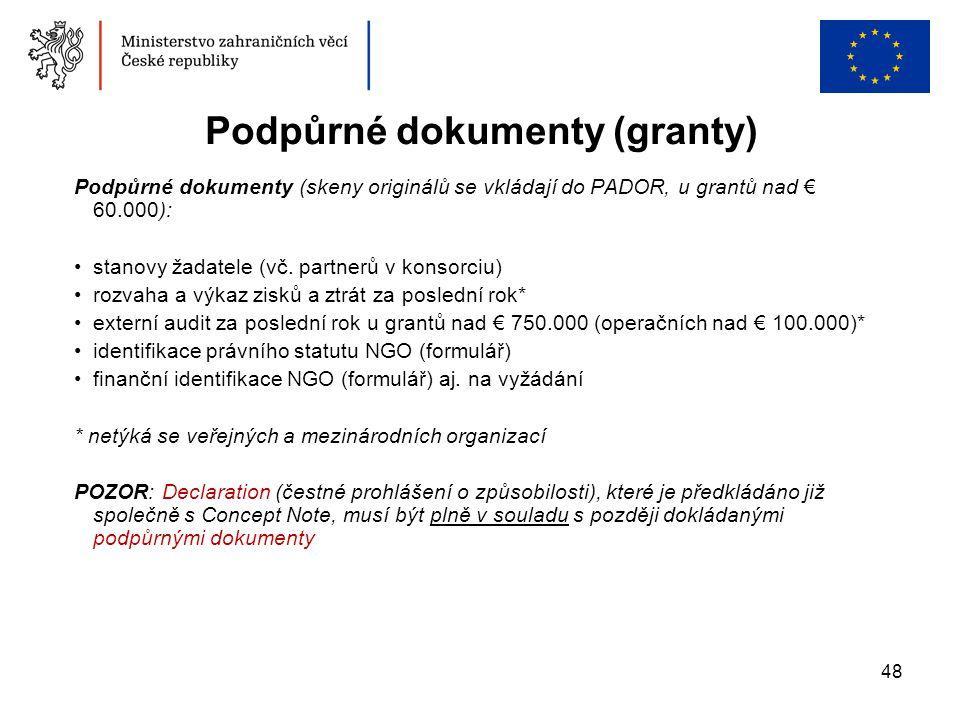 48 Podpůrné dokumenty (skeny originálů se vkládají do PADOR, u grantů nad € 60.000): •stanovy žadatele (vč. partnerů v konsorciu) •rozvaha a výkaz zis