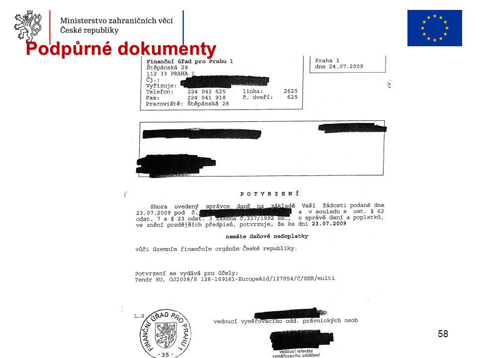 58 Podpůrné dokumenty