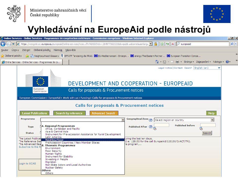 6 Vyhledávání na EuropeAid podle nástrojů