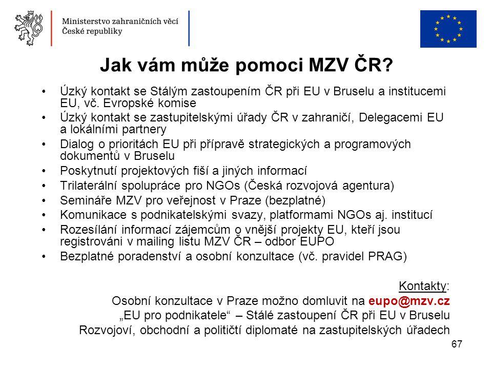67 Jak vám může pomoci MZV ČR? •Úzký kontakt se Stálým zastoupením ČR při EU v Bruselu a institucemi EU, vč. Evropské komise •Úzký kontakt se zastupit