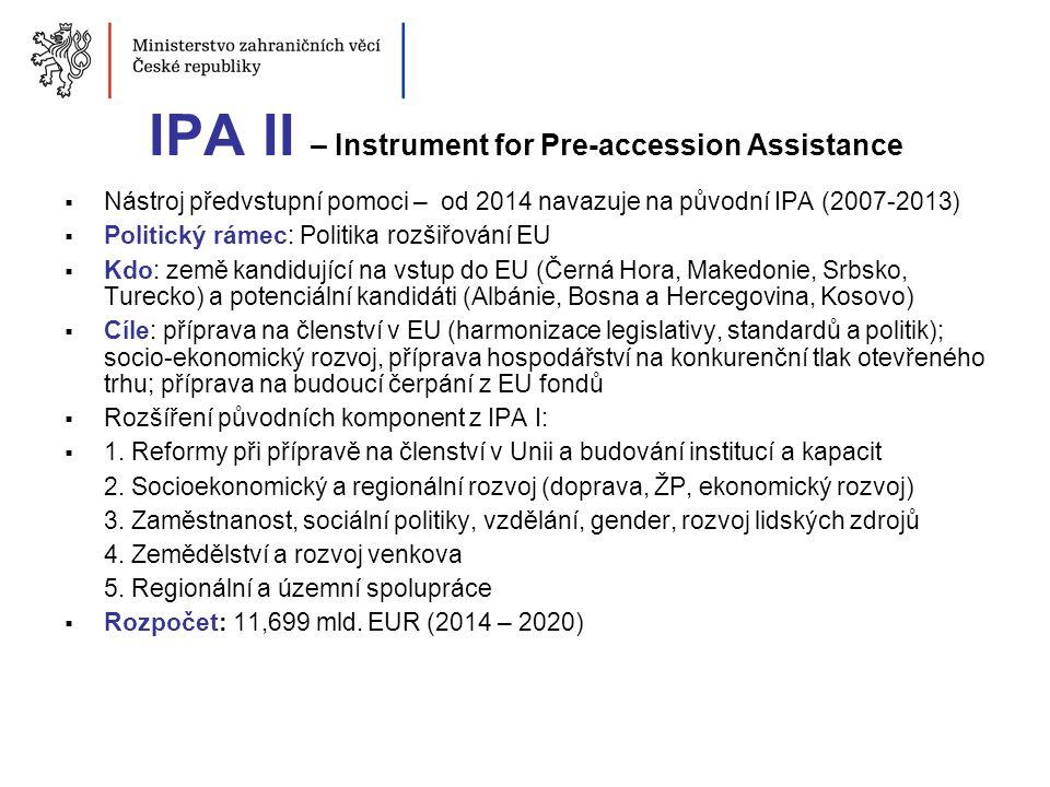 IPA II – Instrument for Pre-accession Assistance  Nástroj předvstupní pomoci – od 2014 navazuje na původní IPA (2007-2013)  Politický rámec: Politik