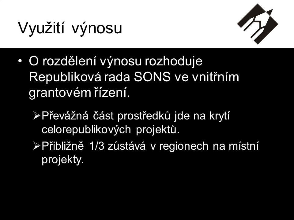 Využití výnosu •O rozdělení výnosu rozhoduje Republiková rada SONS ve vnitřním grantovém řízení.