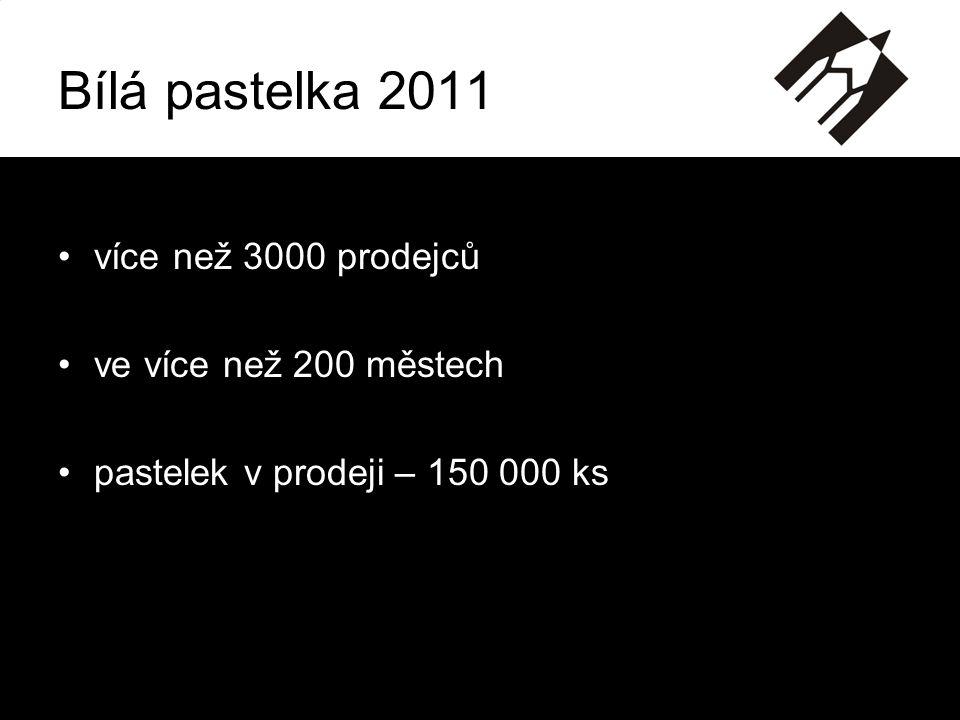 •více než 3000 prodejců •ve více než 200 městech •pastelek v prodeji – 150 000 ks Bílá pastelka 2011