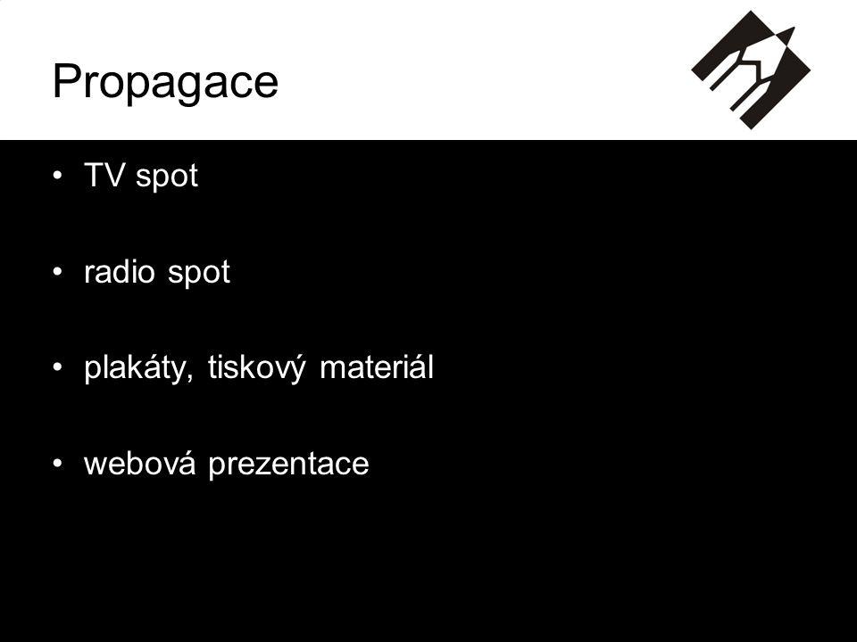 Propagace •TV spot •radio spot •plakáty, tiskový materiál •webová prezentace