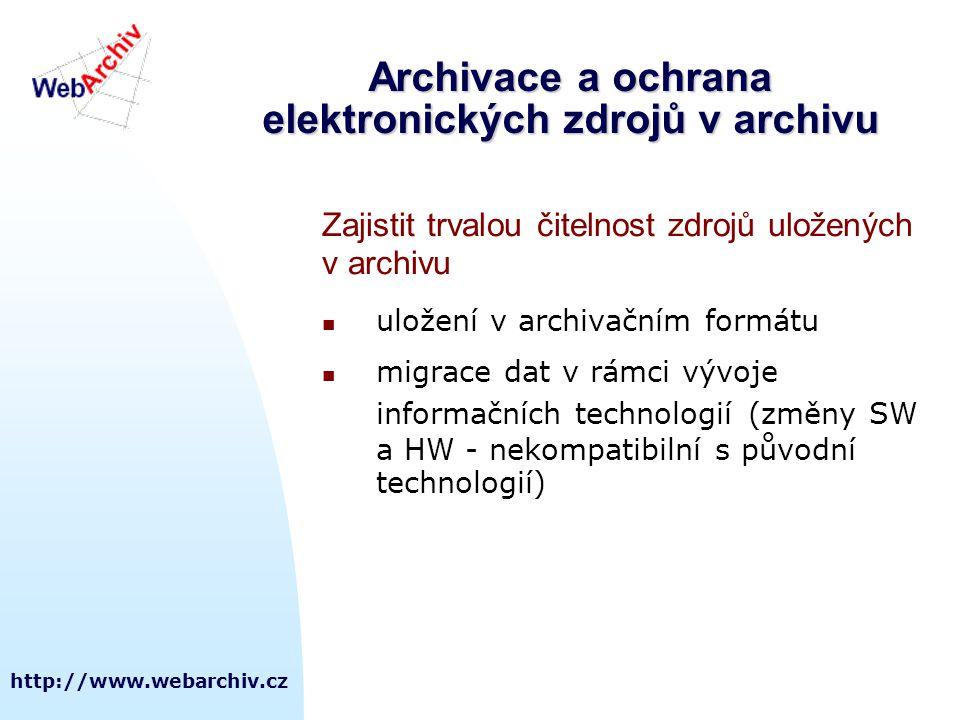 http://www.webarchiv.cz Archivace a ochrana elektronických zdrojů v archivu Zajistit trvalou čitelnost zdrojů uložených v archivu  uložení v archivač