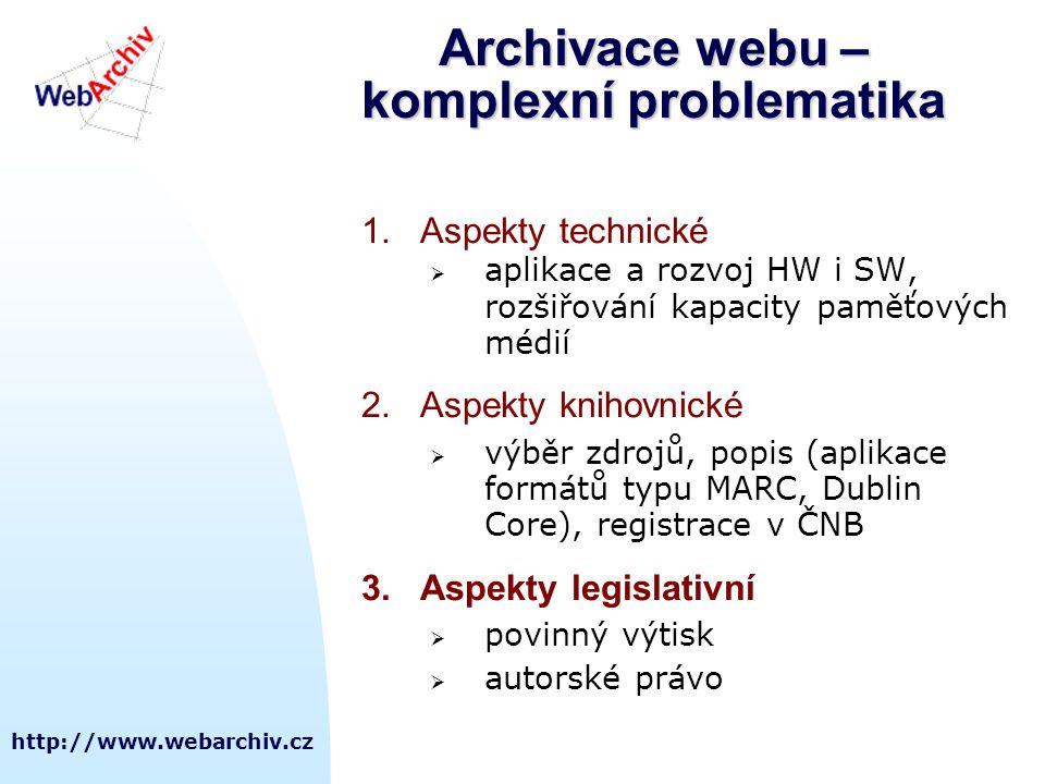 http://www.webarchiv.cz Archivace webu – komplexní problematika 1.Aspekty technické  aplikace a rozvoj HW i SW, rozšiřování kapacity paměťových médií