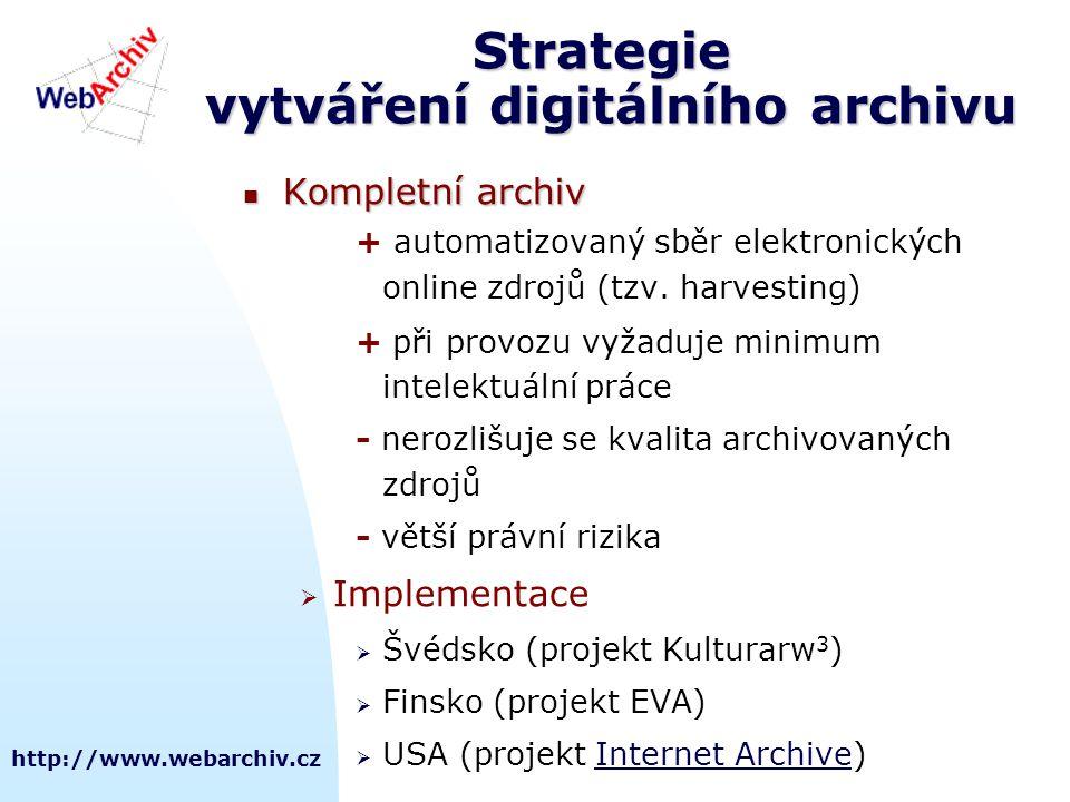 http://www.webarchiv.cz Strategie vytváření digitálního archivu  Kompletní archiv + automatizovaný sběr elektronických online zdrojů (tzv. harvesting
