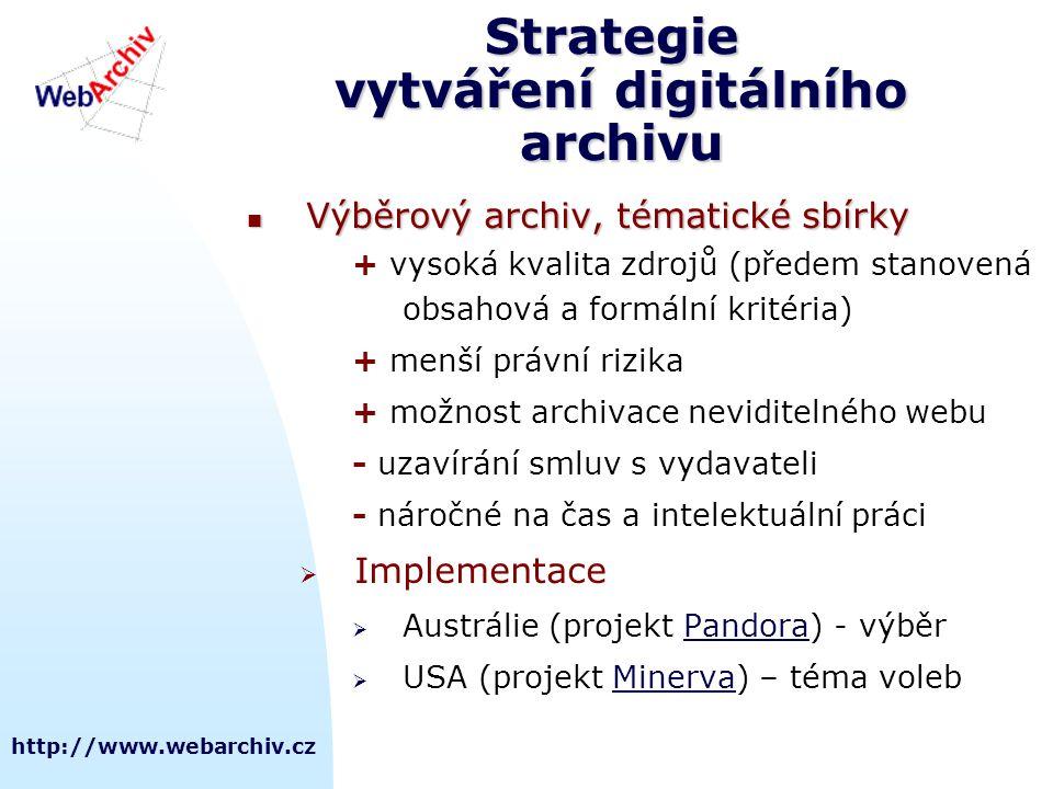 http://www.webarchiv.cz Strategie vytváření digitálního archivu  Výběrový archiv, tématické sbírky + vysoká kvalita zdrojů (předem stanovená obsahová