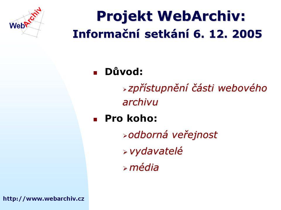 http://www.webarchiv.cz Projekt WebArchiv: Informační setkání 6. 12. 2005  Důvod:  zpřístupnění části webového archivu  Pro koho: odborná veřejnost
