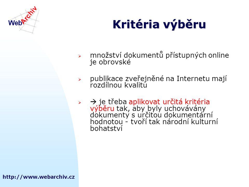 http://www.webarchiv.cz Kritéria výběru  množství dokumentů přístupných online je obrovské  publikace zveřejněné na Internetu mají rozdílnou kvalitu