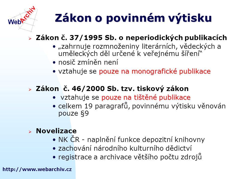 """http://www.webarchiv.cz Zákon o povinném výtisku  Zákon č. 37/1995 Sb. o neperiodických publikacích •""""zahrnuje rozmnoženiny literárních, vědeckých a"""