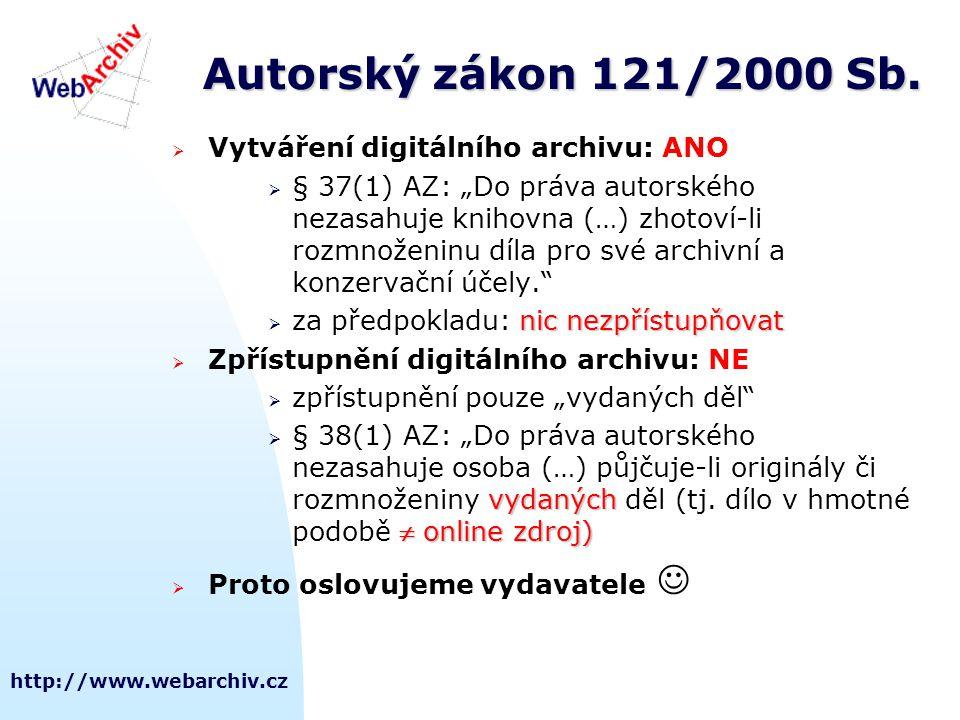 """http://www.webarchiv.cz Autorský zákon 121/2000 Sb.  Vytváření digitálního archivu: ANO  § 37(1) AZ: """"Do práva autorského nezasahuje knihovna (…) zh"""