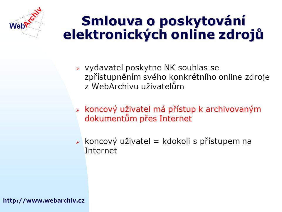 http://www.webarchiv.cz Smlouva o poskytování elektronických online zdrojů  vydavatel poskytne NK souhlas se zpřístupněním svého konkrétního online z