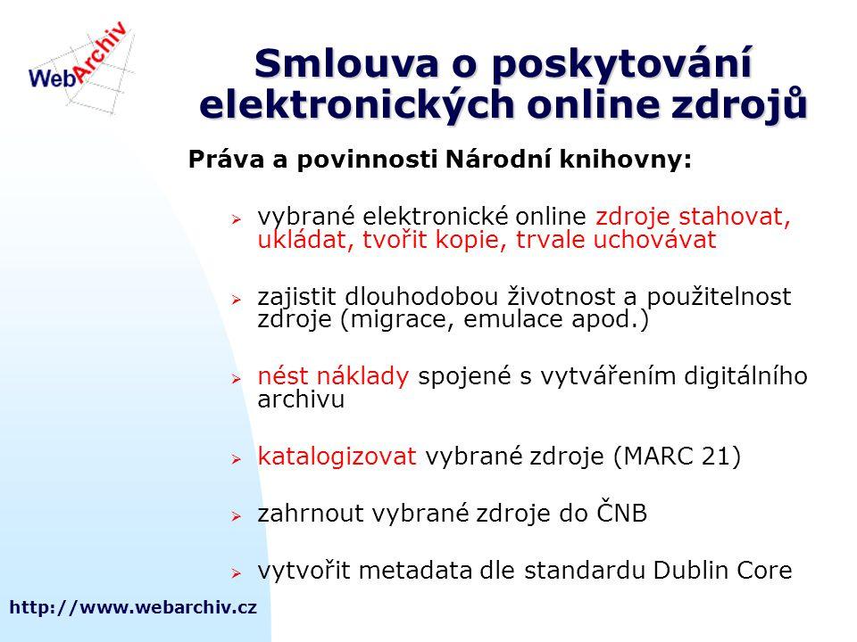 http://www.webarchiv.cz Smlouva o poskytování elektronických online zdrojů Práva a povinnosti Národní knihovny:  vybrané elektronické online zdroje s