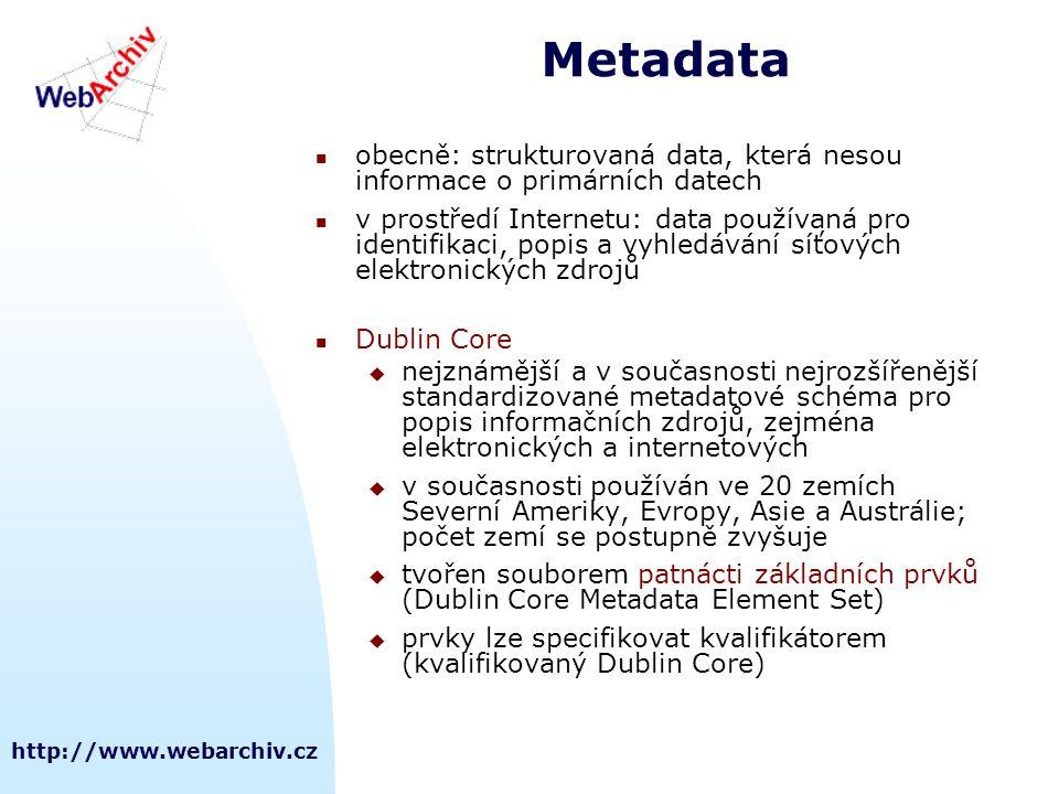 http://www.webarchiv.cz Metadata  obecně: strukturovaná data, která nesou informace o primárních datech  v prostředí Internetu: data používaná pro i