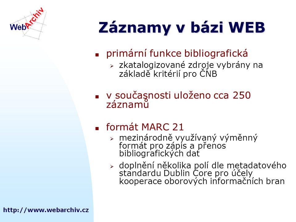 http://www.webarchiv.cz Záznamy v bázi WEB  primární funkce bibliografická  zkatalogizované zdroje vybrány na základě kritérií pro ČNB  v současnos