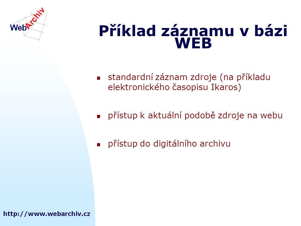 http://www.webarchiv.cz Příklad záznamu v bázi WEB  standardní záznam zdroje (na příkladu elektronického časopisu Ikaros)  přístup k aktuální podobě