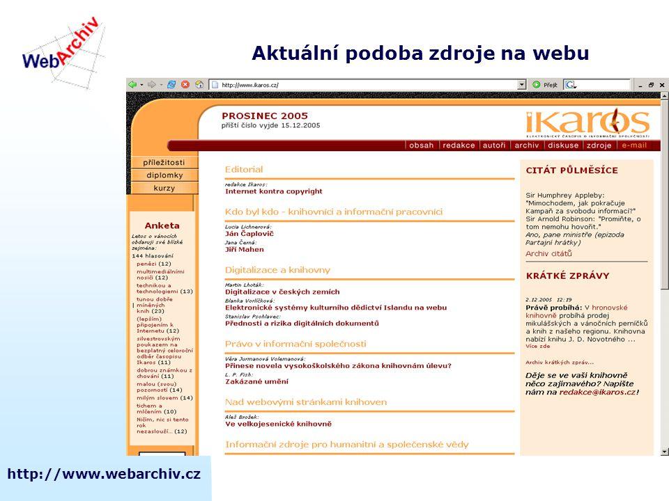 http://www.webarchiv.cz Aktuální podoba zdroje na webu