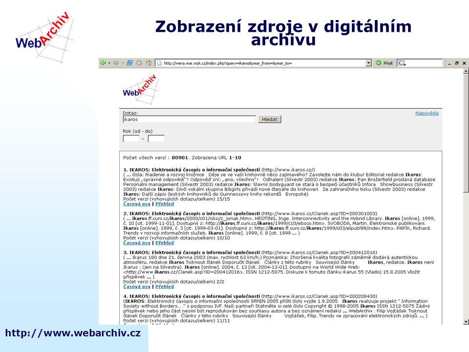http://www.webarchiv.cz Zobrazení zdroje v digitálním archivu