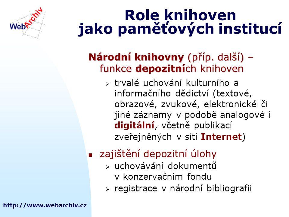 http://www.webarchiv.cz Role knihoven jako paměťových institucí Národní knihovny (příp. další) – funkce depozitních knihoven  trvalé uchování kulturn