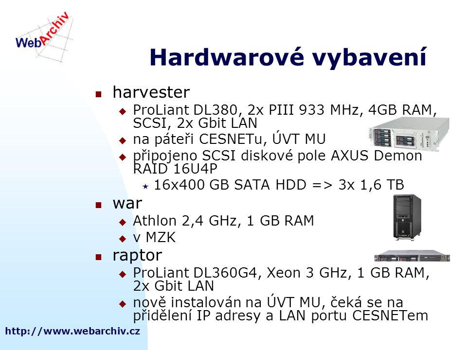 http://www.webarchiv.cz Hardwarové vybavení  harvester  ProLiant DL380, 2x PIII 933 MHz, 4GB RAM, SCSI, 2x Gbit LAN  na páteři CESNETu, ÚVT MU  př