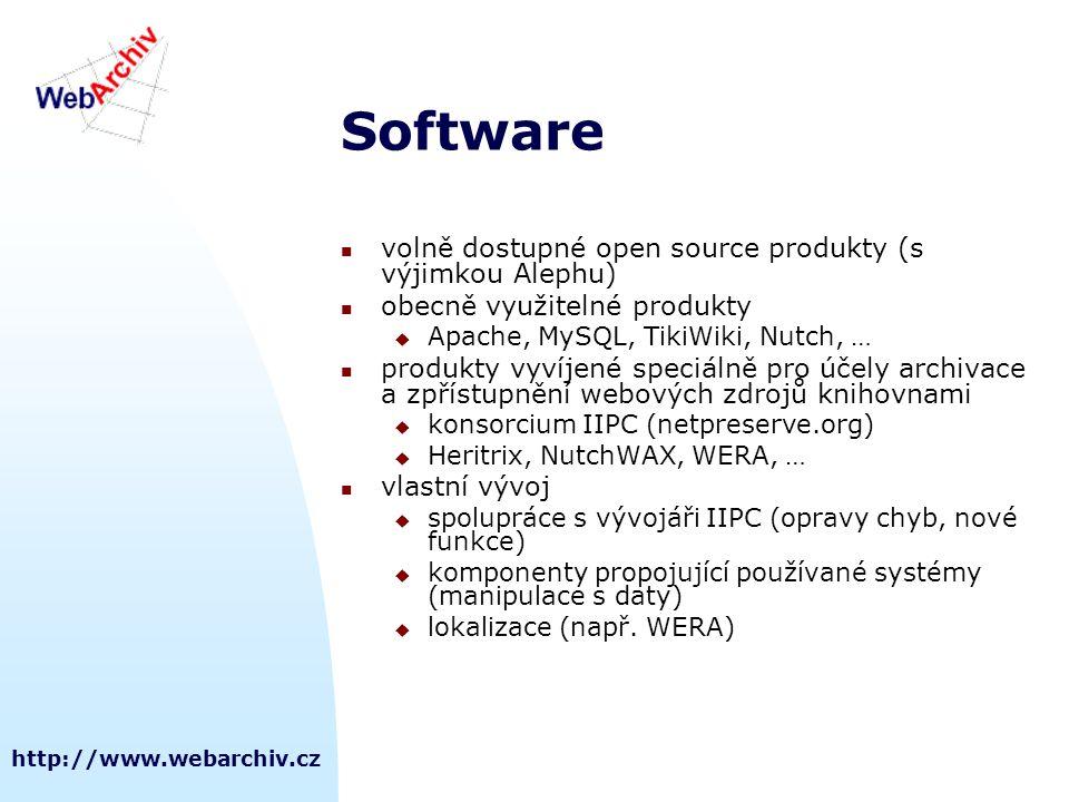 http://www.webarchiv.cz Software  volně dostupné open source produkty (s výjimkou Alephu)  obecně využitelné produkty  Apache, MySQL, TikiWiki, Nut