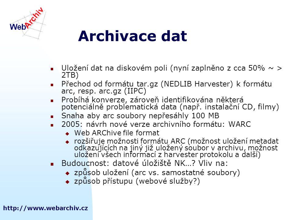 http://www.webarchiv.cz Archivace dat  Uložení dat na diskovém poli (nyní zaplněno z cca 50% ~ > 2TB)  Přechod od formátu tar.gz (NEDLIB Harvester)