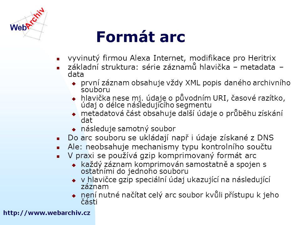 http://www.webarchiv.cz Formát arc  vyvinutý firmou Alexa Internet, modifikace pro Heritrix  základní struktura: série záznamů hlavička – metadata –
