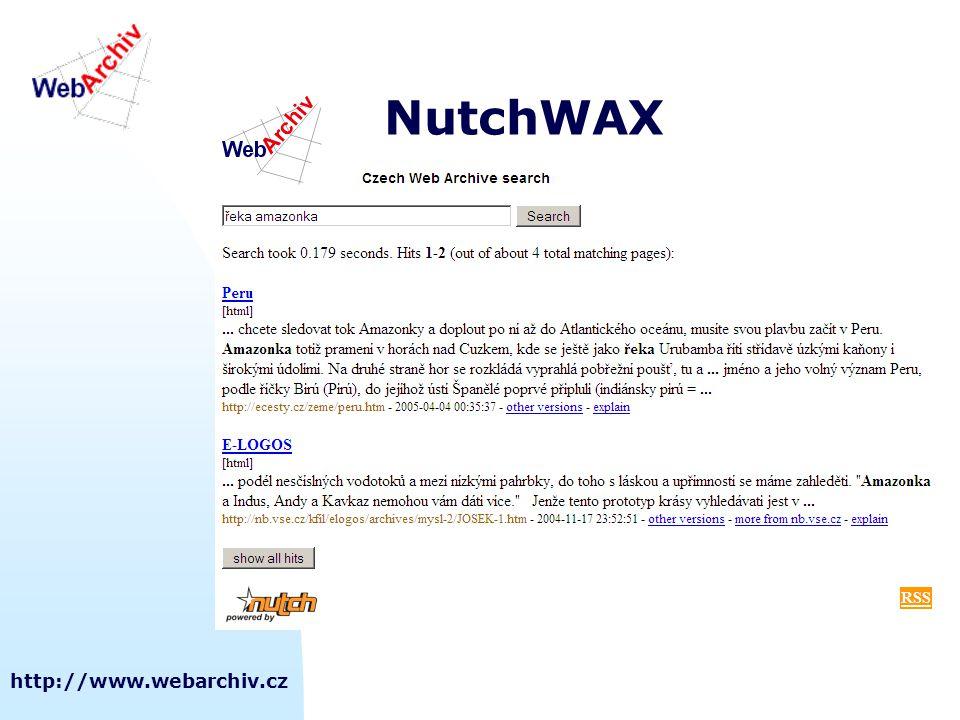 http://www.webarchiv.cz NutchWAX