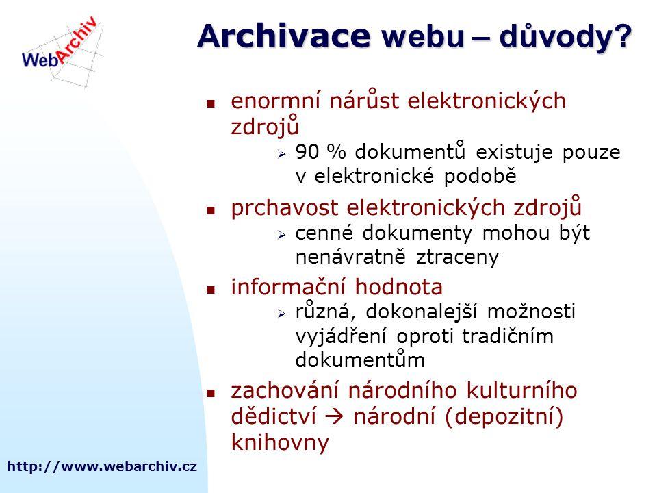 http://www.webarchiv.cz A rchivace webu – důvody?  enormní nárůst elektronických zdrojů  90 % dokumentů existuje pouze v elektronické podobě  prcha
