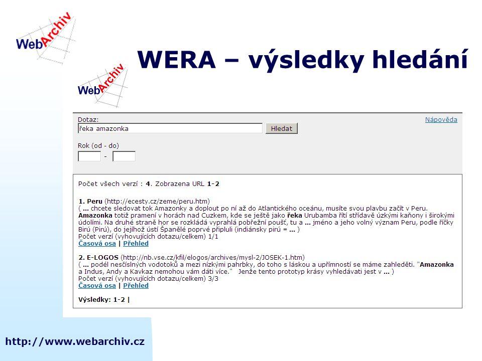 http://www.webarchiv.cz WERA – výsledky hledání