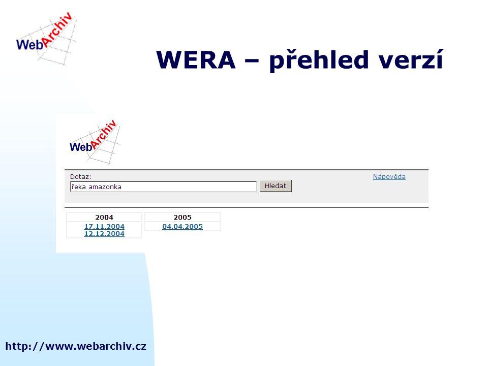 http://www.webarchiv.cz WERA – přehled verzí