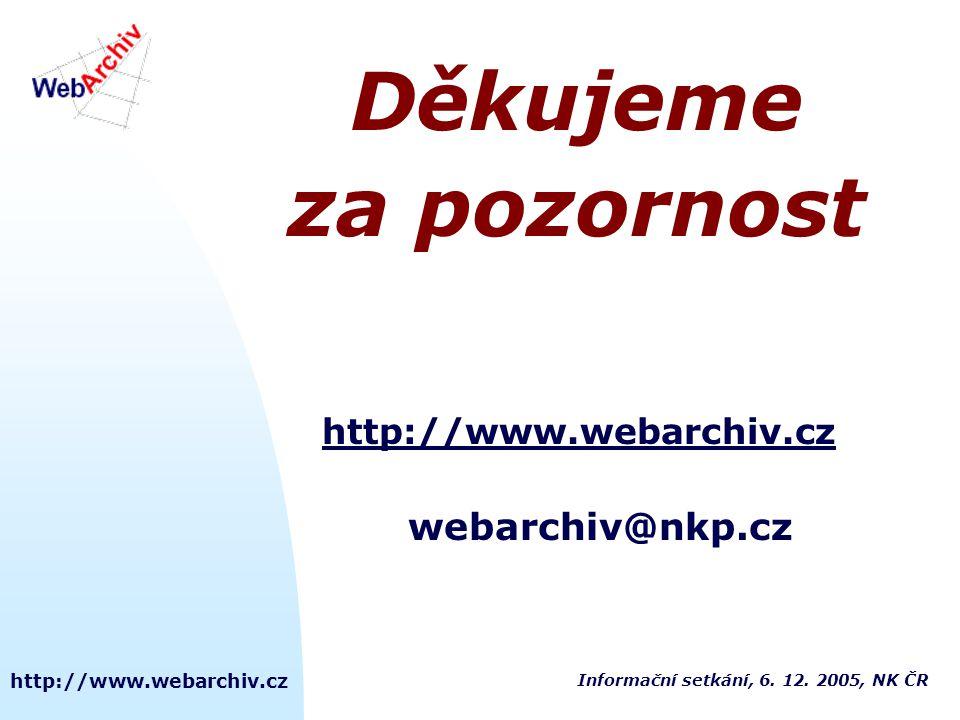 http://www.webarchiv.cz Děkujeme za pozornost http://www.webarchiv.cz webarchiv@nkp.cz Informační setkání, 6. 12. 2005, NK ČR