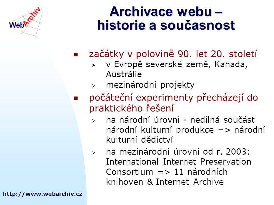 http://www.webarchiv.cz Archivace webu – historie a současnost  začátky v polovině 90. let 20. století  v Evropě severské země, Kanada, Austrálie 