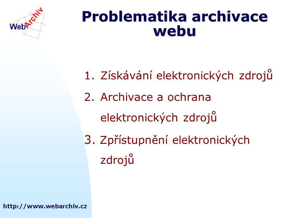 http://www.webarchiv.cz Problematika archivace webu 1.Získávání elektronických zdrojů 2.Archivace a ochrana elektronických zdrojů 3. Zpřístupnění elek