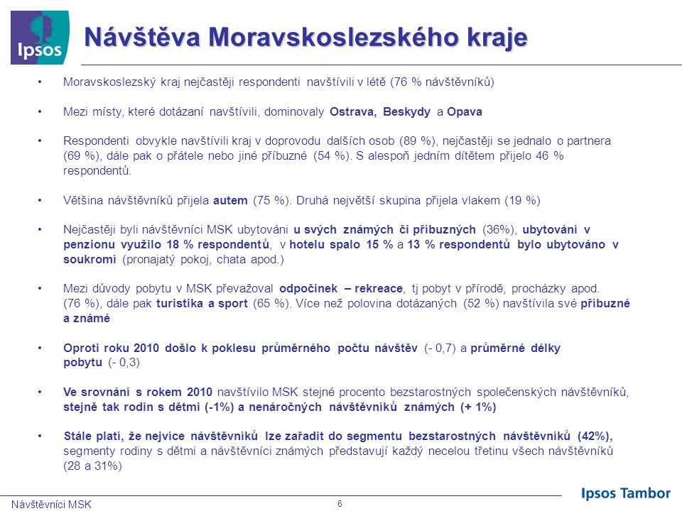 Návštěvníci MSK 7 Spokojenost a loajalita návštěvníků •Celkově vzato, se svojí návštěvou Moravskoslezského kraje v uplynulých 12 měsících byli respondenti většinou spokojeni 34% velmi spokojeno (významný pokles oproti minulému roku, kdy bylo velmi spokojeno 46%).