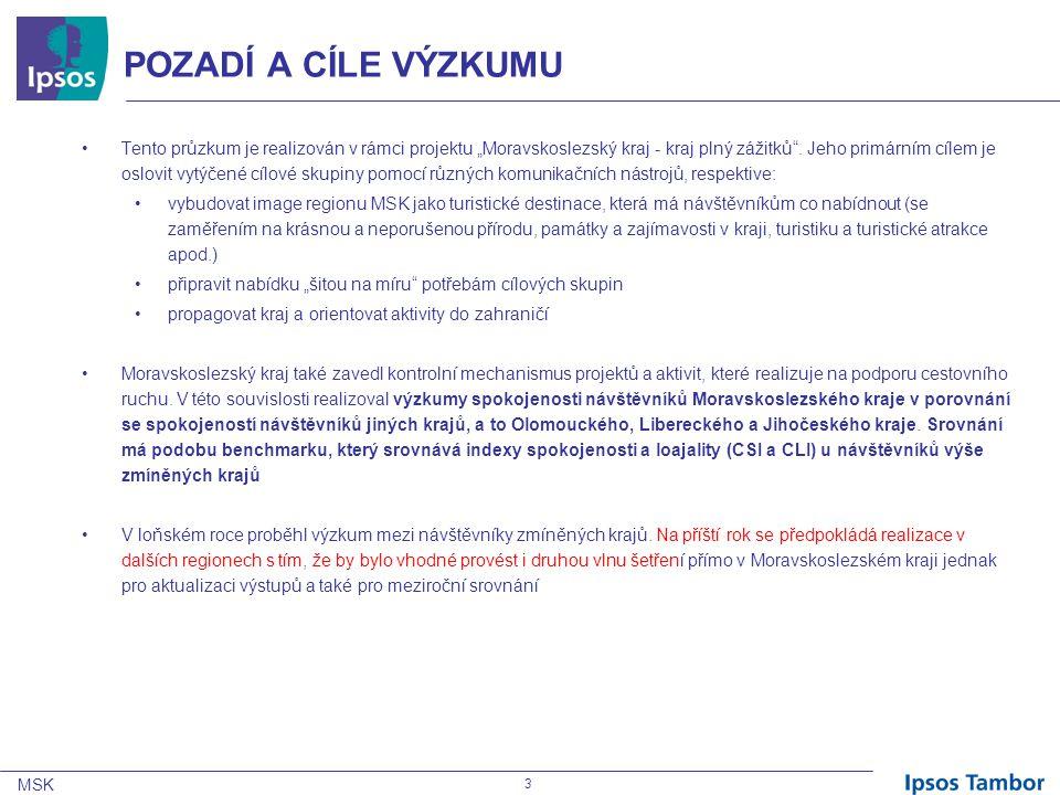 MSK 34 SPOKOJENOST S POBYTEM V KRAJI  Celkově vzato se svojí návštěvou vybraného kraje v uplynulých 12 měsících byli respondenti většinou spokojeni – v Moravskoslezském kraji to vyjádřilo 84% dotázaných, z toho 34% bylo dokonce velmi spokojeno a dalších 50% návštěvníků bylo spíše spokojeno.