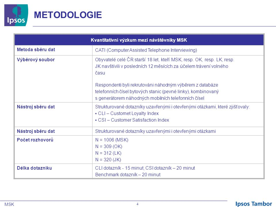 MSK 5 Hlavní zjištění