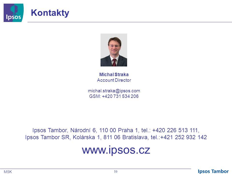 MSK 59 Kontakty Michal Straka Account Director michal.straka@ipsos.com GSM: +420 731 534 206 Ipsos Tambor, Národní 6, 110 00 Praha 1, tel.: +420 226 513 111, Ipsos Tambor SR, Kolárska 1, 811 06 Bratislava, tel.:+421 252 932 142 www.ipsos.cz
