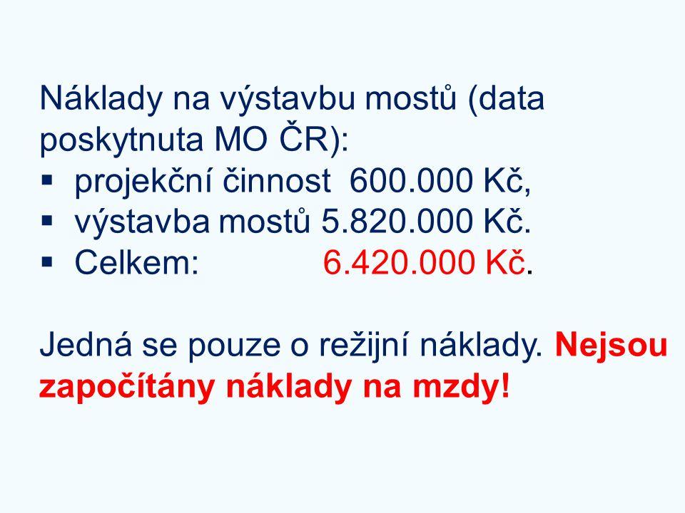 Náklady na výstavbu mostů (data poskytnuta MO ČR):  projekční činnost 600.000 Kč,  výstavba mostů 5.820.000 Kč.  Celkem: 6.420.000 Kč. Jedná se pou