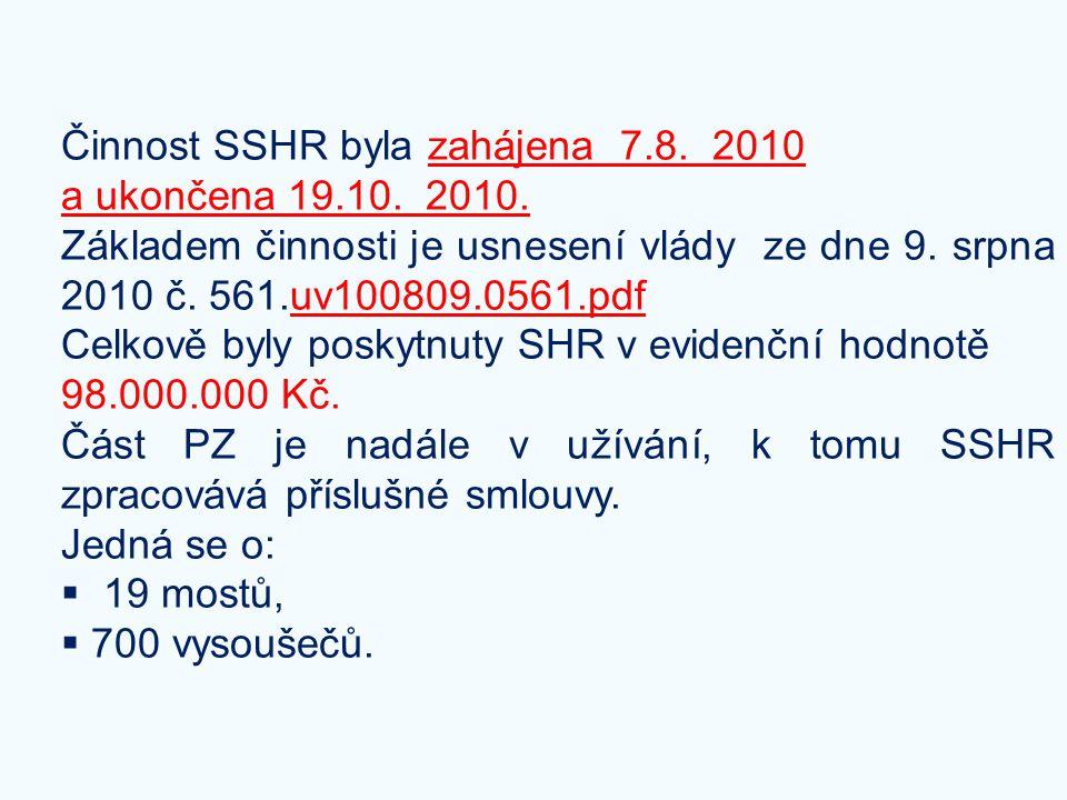 Činnost SSHR byla zahájena 7.8. 2010 a ukončena 19.10. 2010. Základem činnosti je usnesení vlády ze dne 9. srpna 2010 č. 561.uv100809.0561.pdfuv100809
