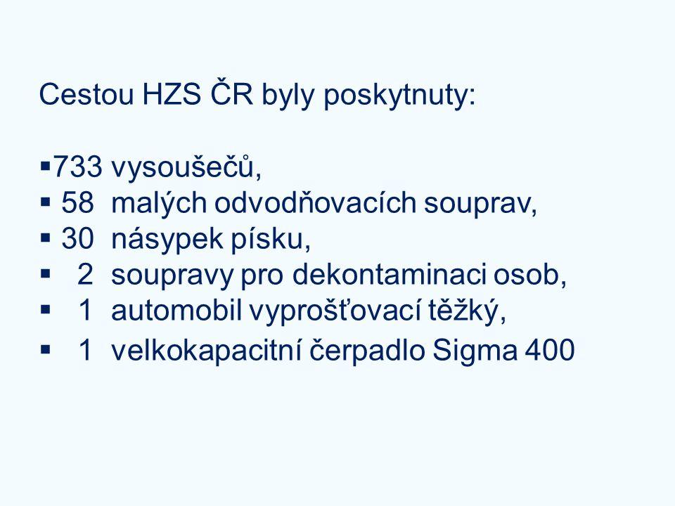 Cestou HZS ČR byly poskytnuty:  733 vysoušečů,  58 malých odvodňovacích souprav,  30 násypek písku,  2 soupravy pro dekontaminaci osob,  1 automo