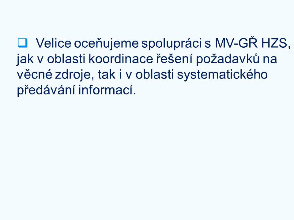  Velice oceňujeme spolupráci s MV-GŘ HZS, jak v oblasti koordinace řešení požadavků na věcné zdroje, tak i v oblasti systematického předávání informa