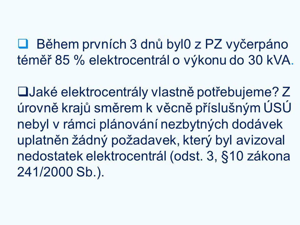  Během prvních 3 dnů byl0 z PZ vyčerpáno téměř 85 % elektrocentrál o výkonu do 30 kVA.  Jaké elektrocentrály vlastně potřebujeme? Z úrovně krajů smě