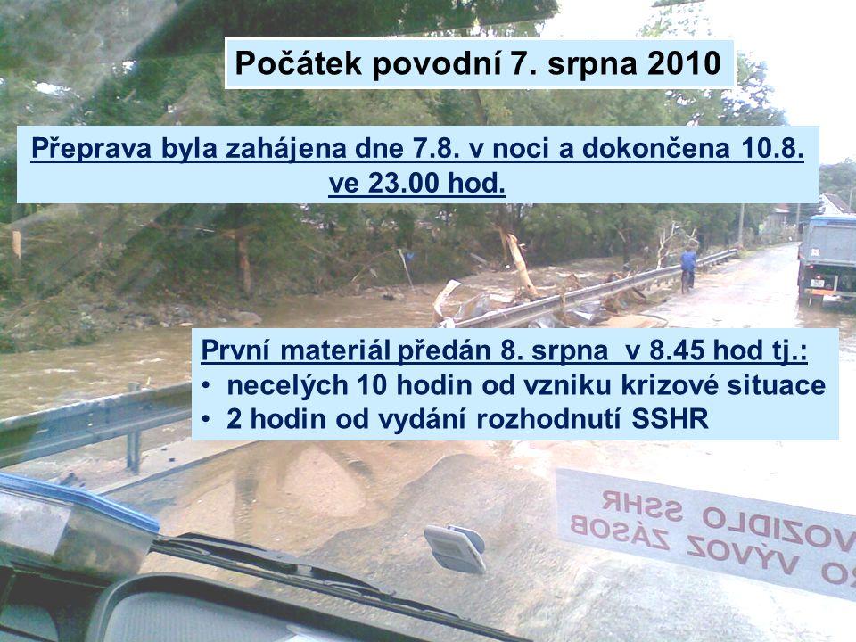 Počátek povodní 7. srpna 2010 Přeprava byla zahájena dne 7.8. v noci a dokončena 10.8. ve 23.00 hod. První materiál předán 8. srpna v 8.45 hod tj.: •
